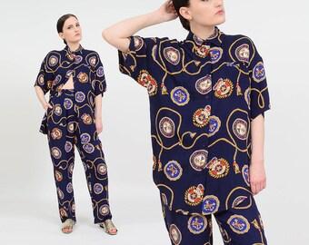 Vintage 90s Two Piece Set | Navy Nautical Pantsuit | High Waist Pants | Oversize Button Down Shirt | 2 pc Matching Set | Small S
