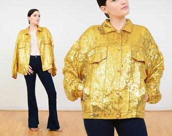 Deadstock 80s Metallic Gold Jacket | Vintage Sequin Jacket | Sequined Silk Bomber Jacket | Oversize Jacket | Beaded Trophy Jacket | L XL