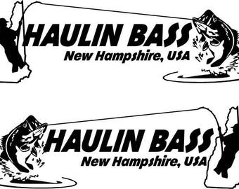 Haulin Bass Custom Fishing DECAL Vinyl Car Decal Fish Sticker