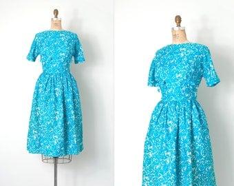 vintage 1960s dress / blue floral print 60s dress / Lanz dress / medium m