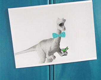 Cheers Dinosaur Blank Greeting Card