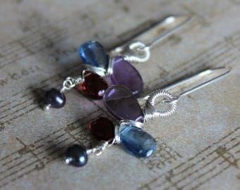 Amethyst, Kyanite, Garnet wire wrapped earrings