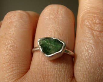 Rough -Raw- Emerald Ring - in Sterling and Pure Silver - Custom size - Choose your stone - UPDATED NEW GEMSTONES !