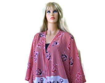 Nautical Boho Kimono cardigan -Oversized-Marine style-Yachting kimono top-Red and white maritime-oversize chiffon kimono- sailing