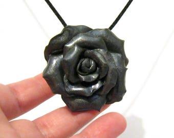 Dark Grey Rose Pendant