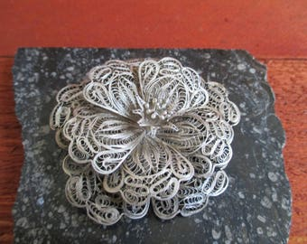 Lacy Silver Flower Brooch Vintage Jewelry Mexican Silver Statement Jewelry