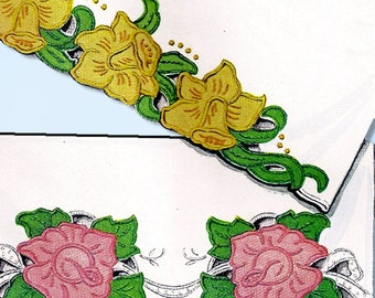 1940s Vintage McCall Embroidery Transfer 1511 Uncut Cutwork Floral Pillowcases