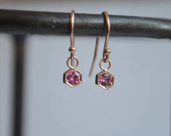 SALE Hexagon Dangly Earrings, rose gold hexagons, rose gold dangly earrings, hexagon spinel earrings, french hooks, gifts for moms