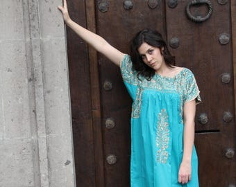 Seafoam and  Antique gold Embrodery Mexican Wedding Dress