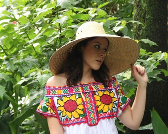Sun Flowers Hand embroidered Juquila peasant blouse