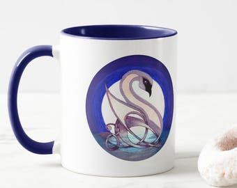 Celtic Swan Ceramic Art Mug