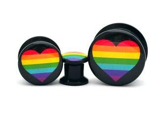 Black Acrylic Rainbow Heart Picture Plugs gauges - 8g, 6g, 4g, 2g, 0g, 00g, 7/16, 1/2, 9/16, 5/8, 3/4, 7/8, 1 inch