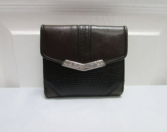 Vintage Brighton Brown Leather Black Pebbled Leather Bi Fold Wallet - Currency, Ids, Credit Cards and Coin Compartments
