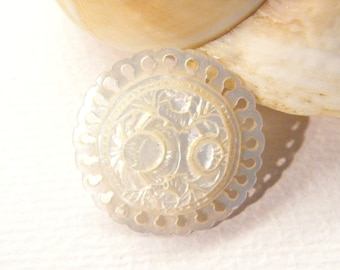 "Antique Carved Mother of Pearl ROSE Flowers Removable Button, 1 1/16"", ANIMAL CHARITY Donation"