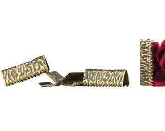500pcs. 16mm or 5/8 inch Antique Bronze No Loop Ribbon Clamp End Crimps - Artisan Series