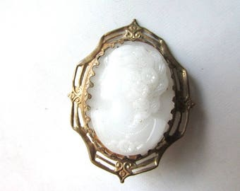 White Glass Cameo Brooch Pin Assemblage Supply Silhouette Spring Summer