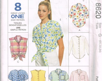Plus Sized Shirt Pattern McCalls 8620 Bust 42 to 46 Loose Fitting Button Front Shirts Casual Shirt Vintage Uncut 1997 Sewing Pattern