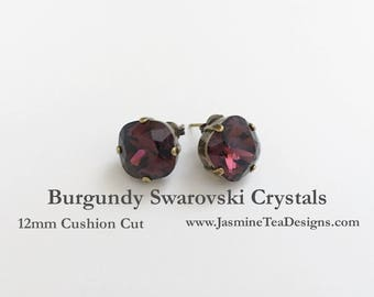 Burgundy Swarovski Earrings, 12mm Cushion Cut Swarovski Crystals, Set In Vintage Patina Antique Brass, Post Setting, Stud Earrings