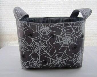 Halloween Fabric Organizer Storage Basket Bin - Gray Gliter Spider Webs