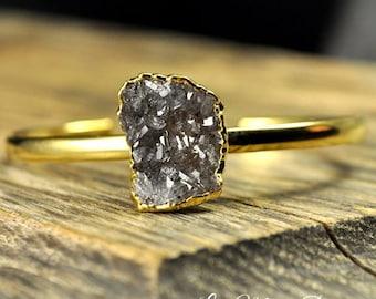 Druzy Bracelet, Natural Druzy, Adjustable Druzy Bracelet, Gold Druzy Bracelet, Freeform Druzy Bracelet, Single Druzy B...