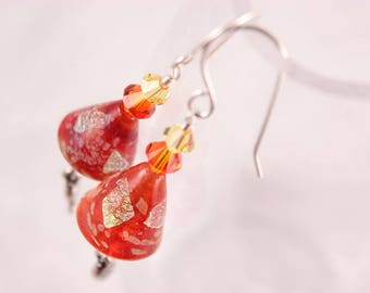 Red Glass Earrings with Silver Paisley, Fire