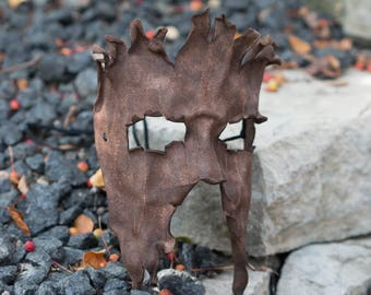 Bark Split Leather Masquerade Mask