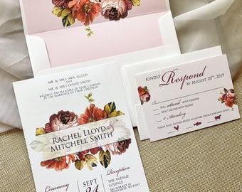 Purple Wedding Invitation, Floral Wedding Invitation, Vintage Wedding Invitation, Autumn Fall Wedding Invitation Set, Envelope Liner Wedding