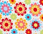 Riley Blake Just Dreamy 2 Knit Fabric - K4130 Cream Bright Floral Knit Fabric - Riley Blake Cotton Lycra Knit Fabric - Riley Blake Knit