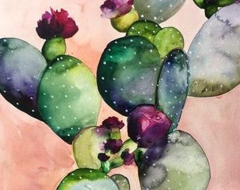 Desert Rose II Art Print - Cactus - Cacti - Pink - Peach - Watercolor - Flower - Bohemian - Boho Decor - Gallery Wall