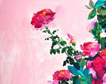 Rose Garden I Art Print - Roses Art - Flowers - Garden - Floral - Acrylic Painting - Pink - Gallery Wall - Plants on Pink