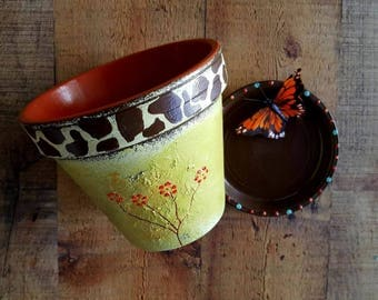 Painted Flower Pot - Giraffe Print - Rustic Home Decor - Rustic Planter - Orange and Green