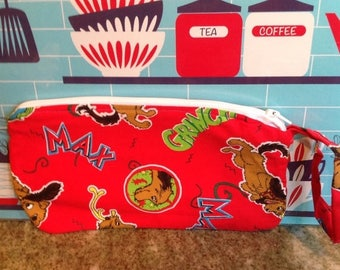 SALE Handmade zippered wristlet.  Dr. Seuss The Grinch Who Stole Christmas max dog purse.  Fully lined.