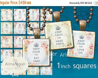 SALE 30% OFF - Keep Calm  Squares 1 inch digital squares - Digital Collage Sheet for 2,5 cm Earrings - Bottlecaps - Pendants - Magnets