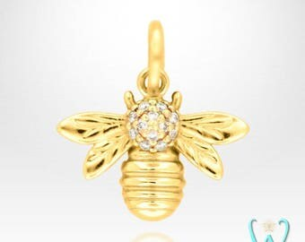 14K Diamond Bee Pendant or Necklace (Made to Order)