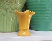 Bauer Pottery Matt Carlton Ruffled Rim Vase Yellow Hand Thrown California Vintage
