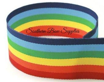 1 3/8 inch Grosgrain Ribbon---3 Yards---Stripes---RAINBOW---Hair bow Making Supplies