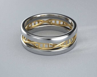 Palladium and 14k gold DNA band two tone