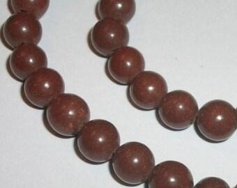 Clay round beads Brown 7-8mm gemstone round beads -- 1 strand