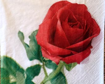 Decoupage Napkins, 4+1 FREE Single  Paper Napkins, One Red Rose, 9,5 inches (25 cm) for Decoupage, Paper-Craft and Collage