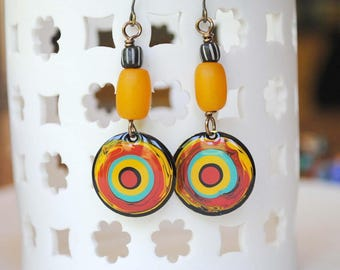Colorful Earrings, Abstract Earrings, Hand Painted Earrings, Pebeo Jewelry, Unique Artisan Jewelry, Boho Hippie Earrings, Ethnic Earrings,