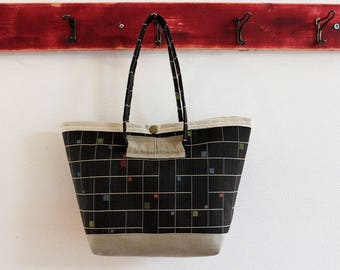 Small Upcycled Snap Tote, Salvaged Upholstery, Chocolate Brown Retro Squares