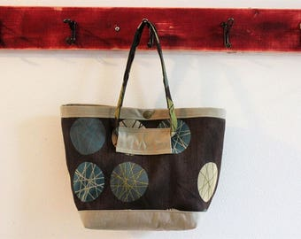 Small Upcycled Snap Tote, Salvaged Upholstery, Chocolate Brown Circles