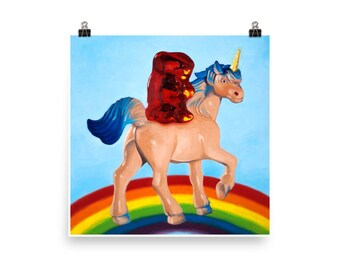 Gummy Unicorn - Art Print from original painting, kitsch, silly, kids, humor, play, silly, nostalgia, cute, funny, fun, bronies, rainbows