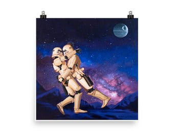 Stormtrooper Romance #2 - art print from original painting, action figures, toys, romance, love, passion, relationship, funny, star wars