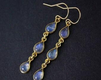 ON SALE Rainbow Moonstone Dangle Earrings – 14kt Gold Fill