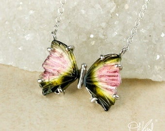 Watermelon Tourmaline Butterfly Necklace - Natural Tourmaline - Pink & Green