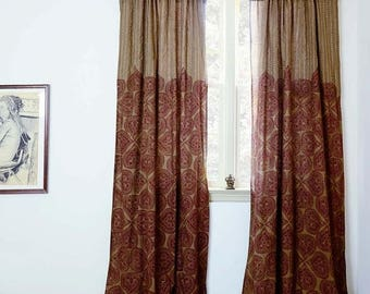 Bohemian Curtains Brown Window Curtains Block Printed Bedroom Curtain Home Living Decor Housewares One Panel