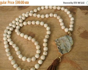 Clearance Sale 75% Bohemian Cream Magnetite / Jasper Beaded Hand Knotted Necklace /  Chic Layering Necklace