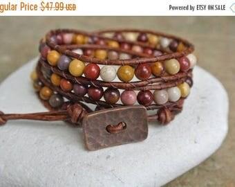 SALE 60% OFF  Desert Sand Jasper Beaded Leather Wrap Bracelet