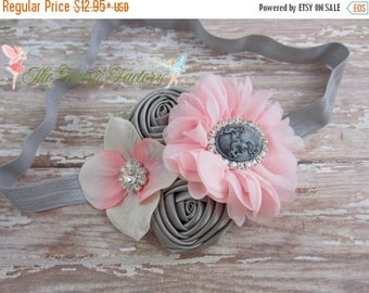 Pink and Gray Headband, Pale Pink Silver Satin Chiffon & Hydrangea Flowers Cameo Headband or Hair Clip, Vintage Baby Child Girls Headband